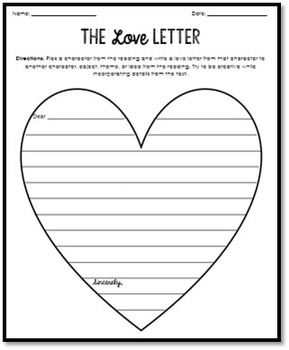 Love and Break-Up Letter Worksheets for ANY Literature