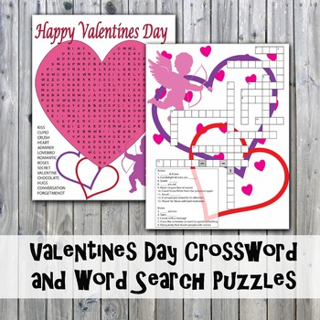 Valentine's Day Crossword Puzzle and Word Search