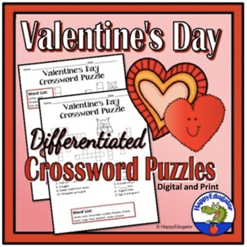 Valentines Day Crossword Puzzles for Elementary School