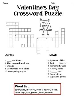 valentines day crossword puzzles for elementary school by happyedugator. Black Bedroom Furniture Sets. Home Design Ideas