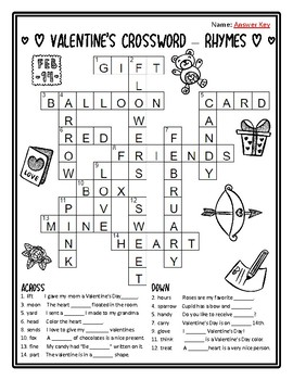 Valentines Day Crossword Puzzles Valentine Rhyming Valentine Crossword Puzzles