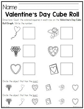 Valentine's Day Cube Roll Math Game