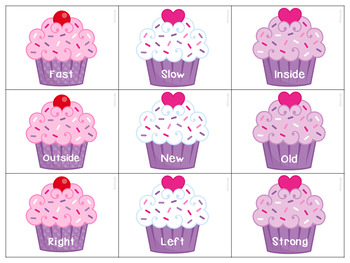 Valentine's Day Cupcake Antonyms for Speech Therapy