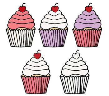 Valentine's Day Cupcake Clip Art