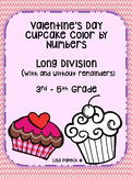 Valentine's Day Cupcake Long Division Color by Number