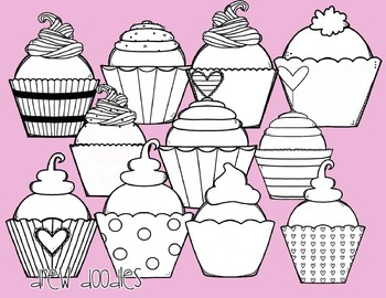 Valentine's Day Cupcakes Digital Clip Art Set- Black Line Version