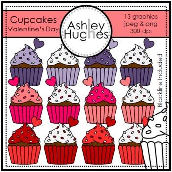 Valentine's Day Cupcakes Clipart {A Hughes Design}