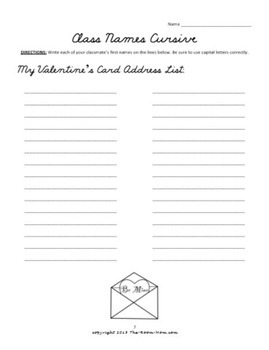 Valentine's Day Cursive Handwriting Worksheets (freebie)