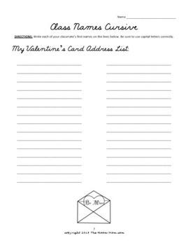 Valentine's Day Cursive Handwriting Worksheets (freebie)