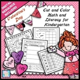 Valentine's Day Math & Literacy Worksheets Kindergarten NO PREP with BOOM CARDS