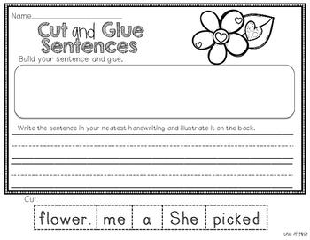 Valentine's Day Cut and Glue Sentences