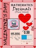 Valentine's Day - Math - Decimals Worksheets - Grade 4, Grade 5, and Grade 6