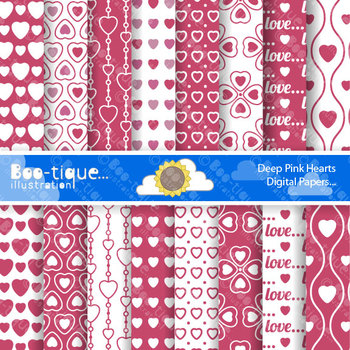 Valentines Day - Deep Pink Love Hearts Digital Scrapbooking Papers.