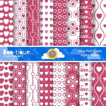 Valentines Day - Deep Pink Love Hearts Digital Scrapbookin