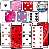 Valentine Heart Dice and Dominoes Clipart