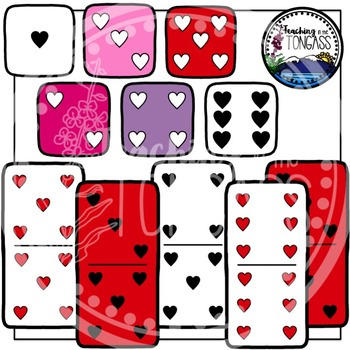 Valentine's Day Heart Dice and Dominoes Clipart Bundle