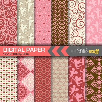 Valentine's Day Digital Paper Pack, Valentine Digital Backgounds