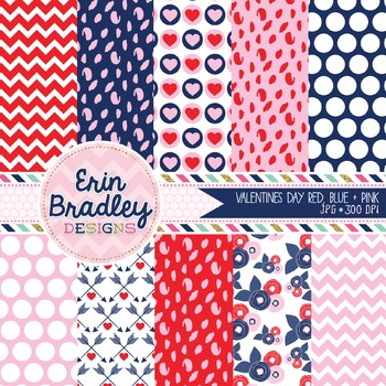 Valentines Day Digital Paper Pack in Pink Red and Blue