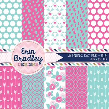 Valentines Day Digital Paper Pack in Pink and Blue