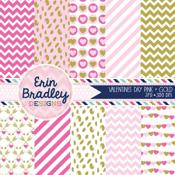 Valentines Day Digital Paper Pack in Pink and Gold