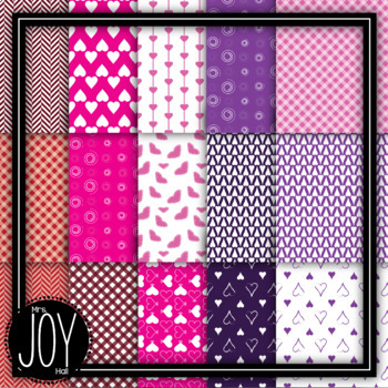 Valentine's Day Digital Papers - 120 Images, 10 Designs, 6 Colors