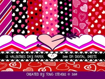 Valentine's Day Digital Papers (Backgrounds)