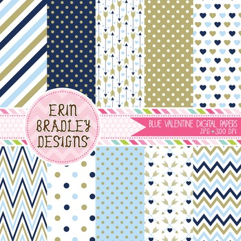 Valentines Day Digital Papers - Blue & Gold