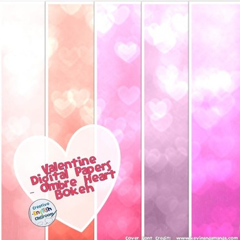 Valentine's Day Digital Papers with Bokeh Ombre Hearts