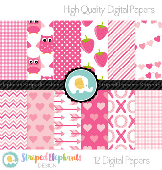 Valentine's Day Digital Papers Pink
