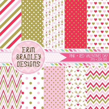 Valentines Day Digital Papers - Pink Red & Gold