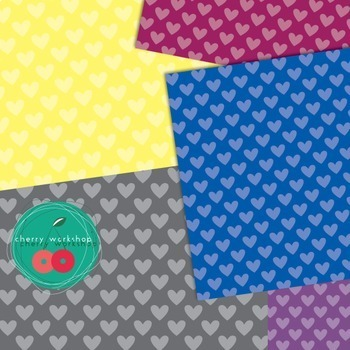 Valentine's Day Digital Papers - Polka Hearts {Commercial Use}