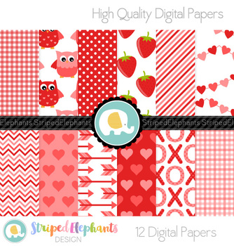 Valentine's Day Digital Papers Red