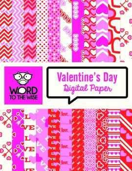 Valentine's Day Digital Scrapbook Paper