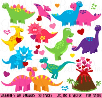 Valentine's Day Dinosaurs Clipart Clip Art - Commercial and Personal Use