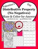 Valentine's Day Math Distributive Property No Negatives Activity Set