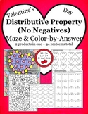 Valentine's Day Math Distributive Property Maze & Color by