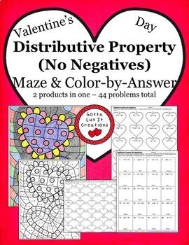 Valentine's Day Math Distributive Property Bundle - Valent