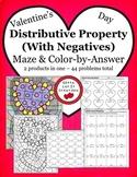 Valentine's Day Math Distributive Property with negatives Activity Set