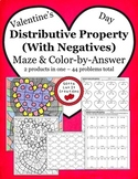 Valentine's Day Math Activity Bundle Distributive Property with negatives