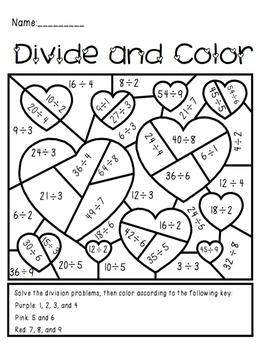 valentine 39 s day divide and color activity by the busy class tpt. Black Bedroom Furniture Sets. Home Design Ideas