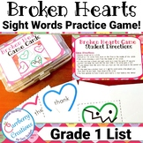 Broken Hearts Sight Words Games | First Grade List