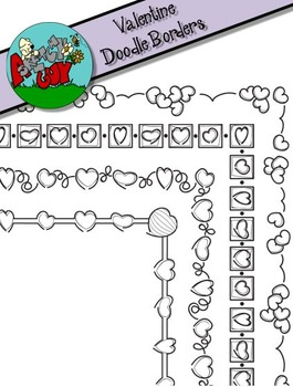 Valentine's Day Doodle Border Clipart / Graphics Skinny and Larger Borders