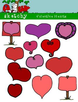 Valentine's Day Doodle Heart Clipart /Graphics 300dpi Color Grayscale Blacklined