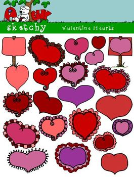 Valentine's Day Doodle Heart Clipart /Graphics 300dpi Colo