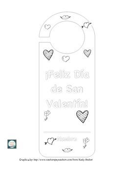 Valentine's Day Door Hanger Project in Spanish-San Valentín