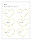 Valentines Day! Double Digit Plus Single Digit Addition Worksheet