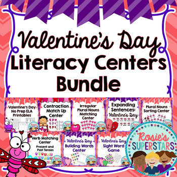 Valentine's Day Literacy Centers and Printables Bundle