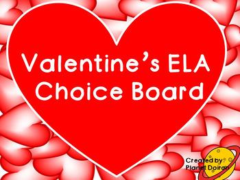 Valentines Day ELA Literacy choice board FREEBIE