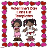 Valentine's Day Editable Class List Template Free