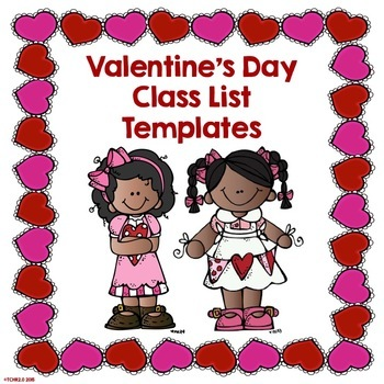 ValentineS Day Editable Class List Template Free By Tchr Two Point